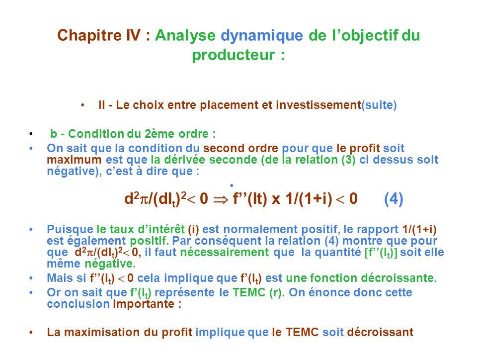 Chapitre IV : Analyse dynamique de lobjectif du producteur : II - Le choix entre placement et investissement(suite) b - Condition du 2ème ordre : On sait que la condition du second ordre pour que le profit soit maximum est que la dérivée seconde (de la relation (3) ci dessus soit négative), cest à dire que : d 2 /(dI t ) 2 0 f(It) x 1/(1+i) 0 (4) Puisque le taux dintérêt (i) est normalement positif, le rapport 1/(1+i) est également positif.