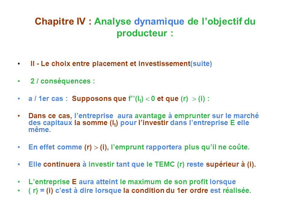 Chapitre IV : Analyse dynamique de lobjectif du producteur : II - Le choix entre placement et investissement(suite) 2 / conséquences : a / 1er cas : Supposons que f(I t ) 0 et que (r) (i) : Dans ce cas, lentreprise aura avantage à emprunter sur le marché des capitaux la somme (I t ) pour linvestir dans lentreprise E elle même.