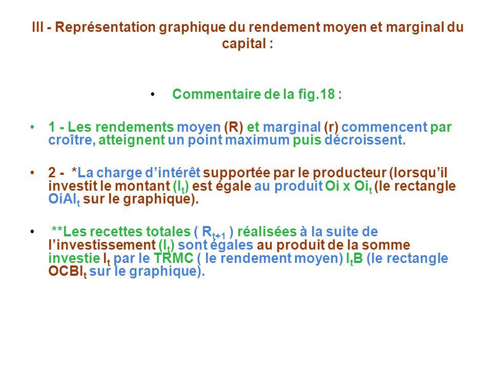 III - Représentation graphique du rendement moyen et marginal du capital : Commentaire de la fig.18 : 1 - Les rendements moyen (R) et marginal (r) commencent par croître, atteignent un point maximum puis décroissent.