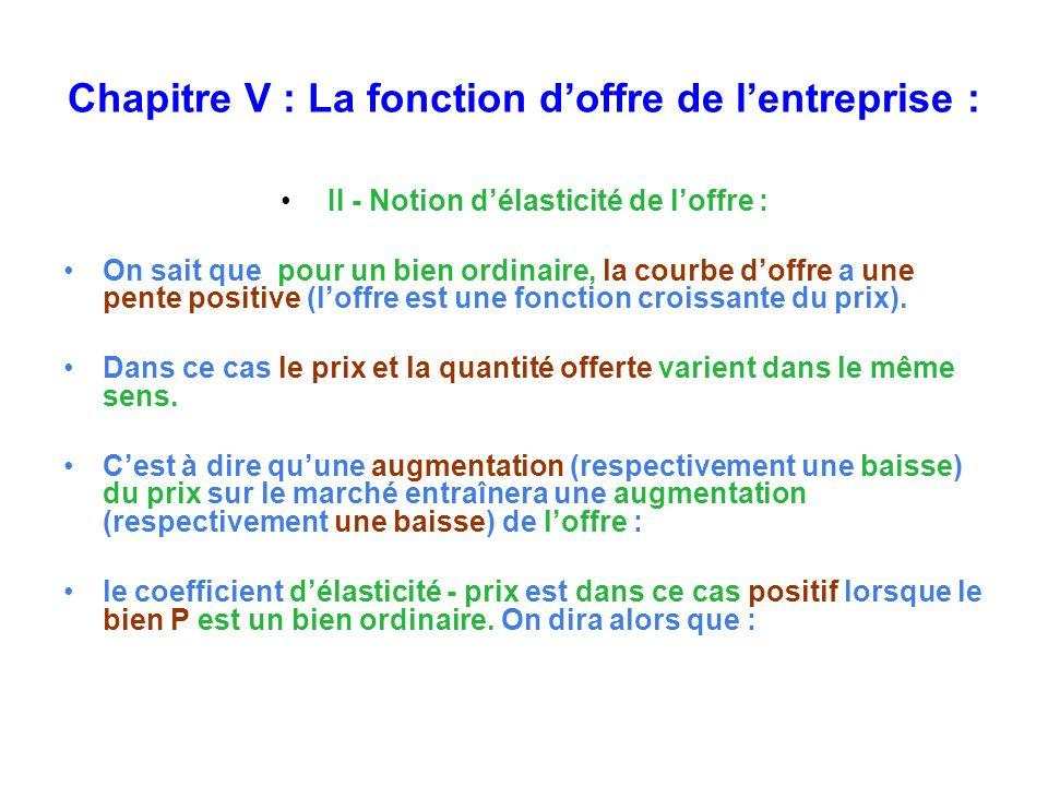 Chapitre V : La fonction doffre de lentreprise : II - Notion délasticité de loffre : On sait que pour un bien ordinaire, la courbe doffre a une pente positive (loffre est une fonction croissante du prix).