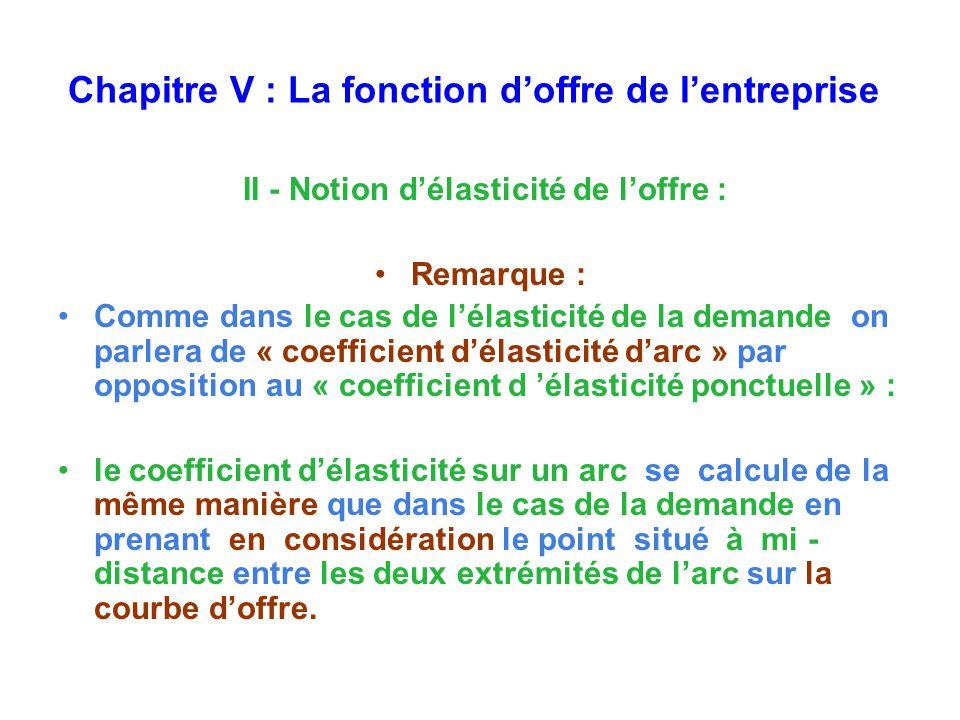 Chapitre V : La fonction doffre de lentreprise II - Notion délasticité de loffre : Remarque : Comme dans le cas de lélasticité de la demande on parlera de « coefficient délasticité darc » par opposition au « coefficient d élasticité ponctuelle » : le coefficient délasticité sur un arc se calcule de la même manière que dans le cas de la demande en prenant en considération le point situé à mi - distance entre les deux extrémités de larc sur la courbe doffre.