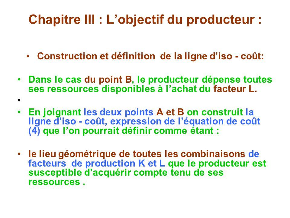 Chapitre III : Lobjectif du producteur : Construction et définition de la ligne diso - coût: Dans le cas du point B, le producteur dépense toutes ses ressources disponibles à lachat du facteur L.