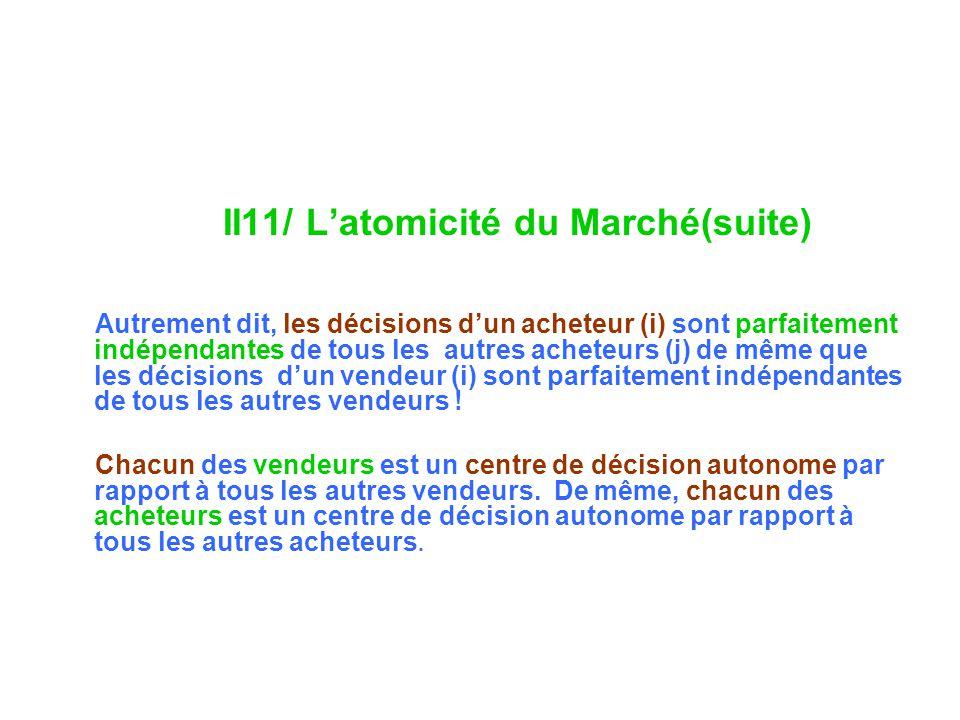 II11/ Latomicité du Marché(suite) Autrement dit, les décisions dun acheteur (i) sont parfaitement indépendantes de tous les autres acheteurs (j) de mê