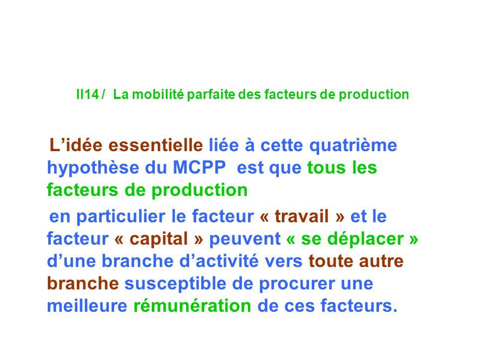 II14 / La mobilité parfaite des facteurs de production Lidée essentielle liée à cette quatrième hypothèse du MCPP est que tous les facteurs de production en particulier le facteur « travail » et le facteur « capital » peuvent « se déplacer » dune branche dactivité vers toute autre branche susceptible de procurer une meilleure rémunération de ces facteurs.
