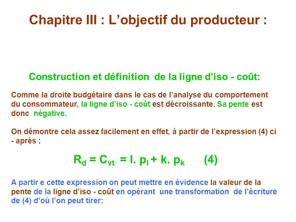 Chapitre III : Lobjectif du producteur : Construction et définition de la ligne diso - coût: Comme la droite budgétaire dans le cas de lanalyse du comportement du consommateur, la ligne diso - coût est décroissante.