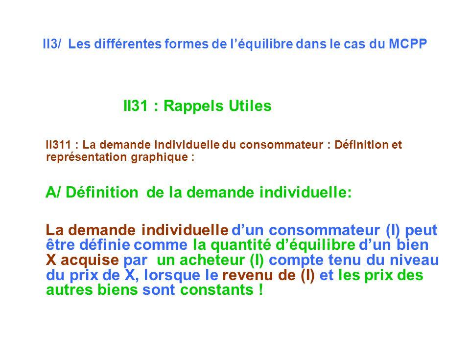 II3/ Les différentes formes de léquilibre dans le cas du MCPP II31 : Rappels Utiles II311 : La demande individuelle du consommateur : Définition et représentation graphique : A/ Définition de la demande individuelle: La demande individuelle dun consommateur (I) peut être définie comme la quantité déquilibre dun bien X acquise par un acheteur (I) compte tenu du niveau du prix de X, lorsque le revenu de (I) et les prix des autres biens sont constants !