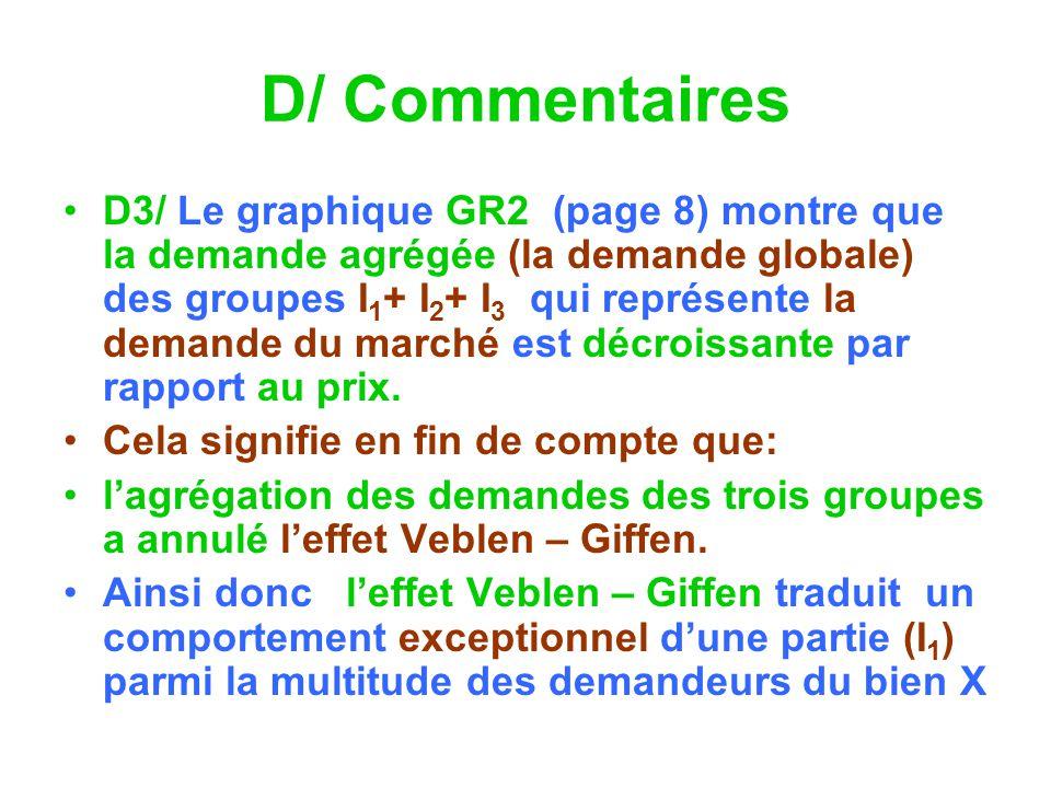 D/ Commentaires D3/ Le graphique GR2 (page 8) montre que la demande agrégée (la demande globale) des groupes I 1 + I 2 + I 3 qui représente la demande du marché est décroissante par rapport au prix.