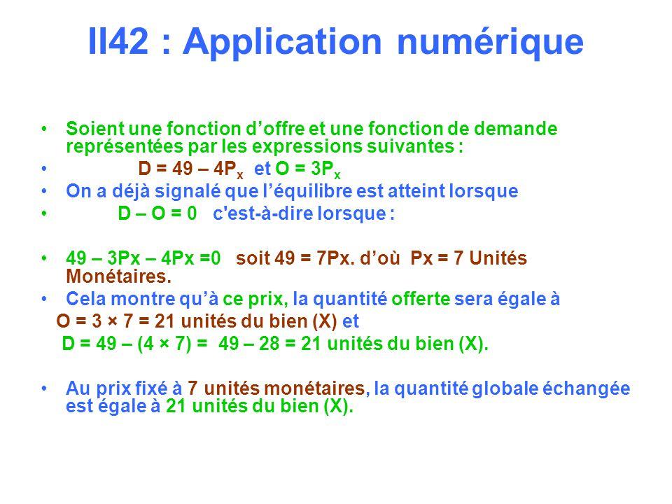 II42 : Application numérique Soient une fonction doffre et une fonction de demande représentées par les expressions suivantes : D = 49 – 4P x et O = 3P x On a déjà signalé que léquilibre est atteint lorsque D – O = 0 c est-à-dire lorsque : 49 – 3Px – 4Px =0 soit 49 = 7Px.