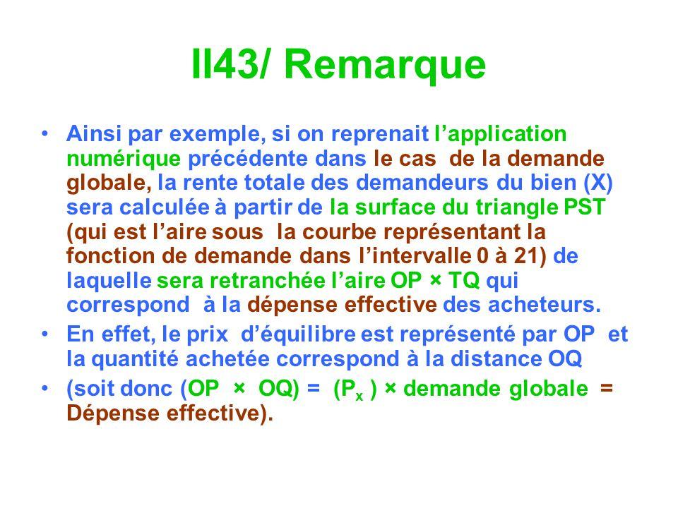 II43/ Remarque Ainsi par exemple, si on reprenait lapplication numérique précédente dans le cas de la demande globale, la rente totale des demandeurs