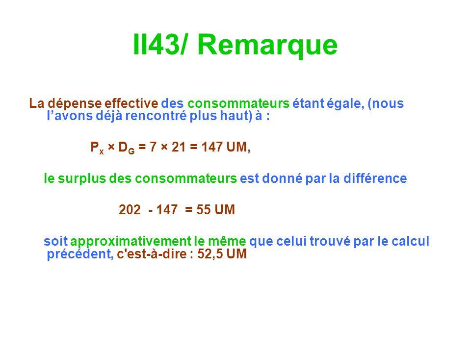 II43/ Remarque La dépense effective des consommateurs étant égale, (nous lavons déjà rencontré plus haut) à : P x × D G = 7 × 21 = 147 UM, le surplus