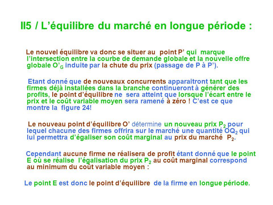 II5 / Léquilibre du marché en longue période : Le nouvel équilibre va donc se situer au point P qui marque lintersection entre la courbe de demande gl