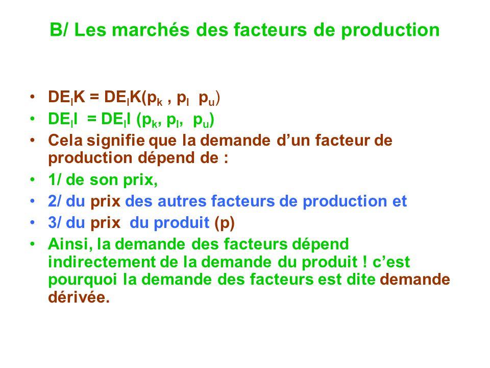 B/ Les marchés des facteurs de production DE I K = DE I K(p k, p l p u ) DE I l = DE I l (p k, p l, p u ) Cela signifie que la demande dun facteur de production dépend de : 1/ de son prix, 2/ du prix des autres facteurs de production et 3/ du prix du produit (p) Ainsi, la demande des facteurs dépend indirectement de la demande du produit .
