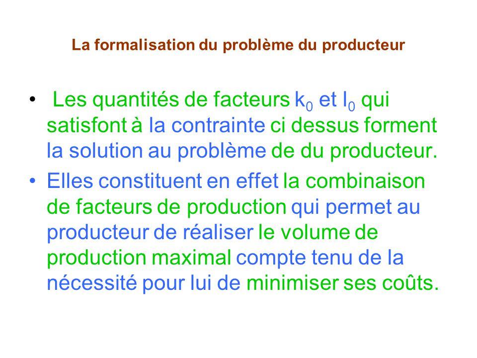La formalisation du problème du producteur Les quantités de facteurs k 0 et l 0 qui satisfont à la contrainte ci dessus forment la solution au problème de du producteur.