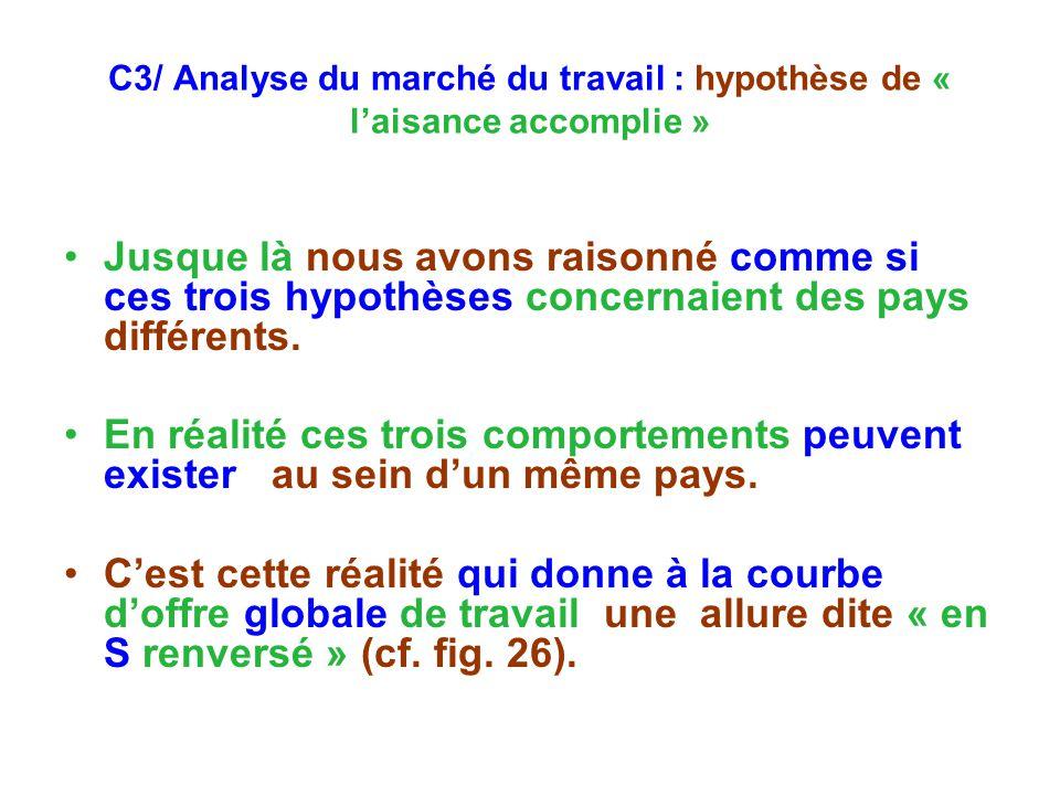 C3/ Analyse du marché du travail : hypothèse de « laisance accomplie » Jusque là nous avons raisonné comme si ces trois hypothèses concernaient des pays différents.