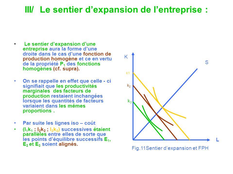III/ Le sentier dexpansion de lentreprise : Le sentier dexpansion dune entreprise aura la forme dune droite dans le cas dune fonction de production homogène et ce en vertu de la propriété P 1 des fonctions homogènes (cf.