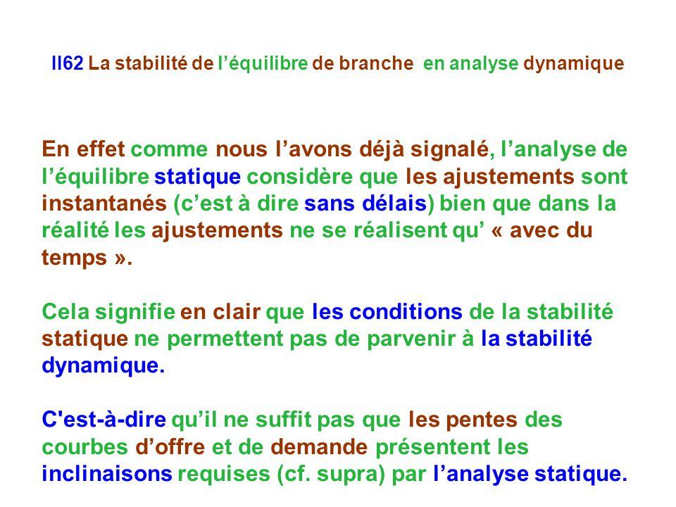 II62 La stabilité de léquilibre de branche en analyse dynamique En effet comme nous lavons déjà signalé, lanalyse de léquilibre statique considère que les ajustements sont instantanés (cest à dire sans délais) bien que dans la réalité les ajustements ne se réalisent qu « avec du temps ».