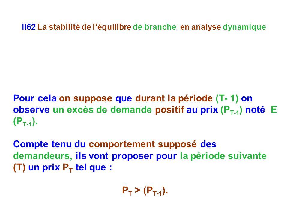 II62 La stabilité de léquilibre de branche en analyse dynamique Pour cela on suppose que durant la période (T- 1) on observe un excès de demande positif au prix (P T-1 ) noté E (P T-1 ).
