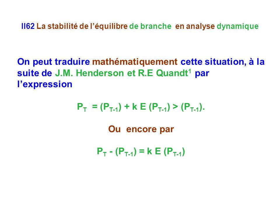 II62 La stabilité de léquilibre de branche en analyse dynamique On peut traduire mathématiquement cette situation, à la suite de J.M.