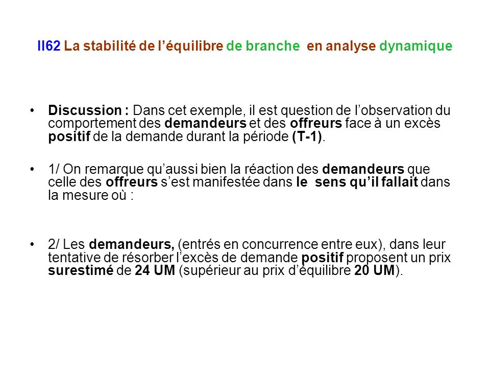 II62 La stabilité de léquilibre de branche en analyse dynamique Discussion : Dans cet exemple, il est question de lobservation du comportement des dem