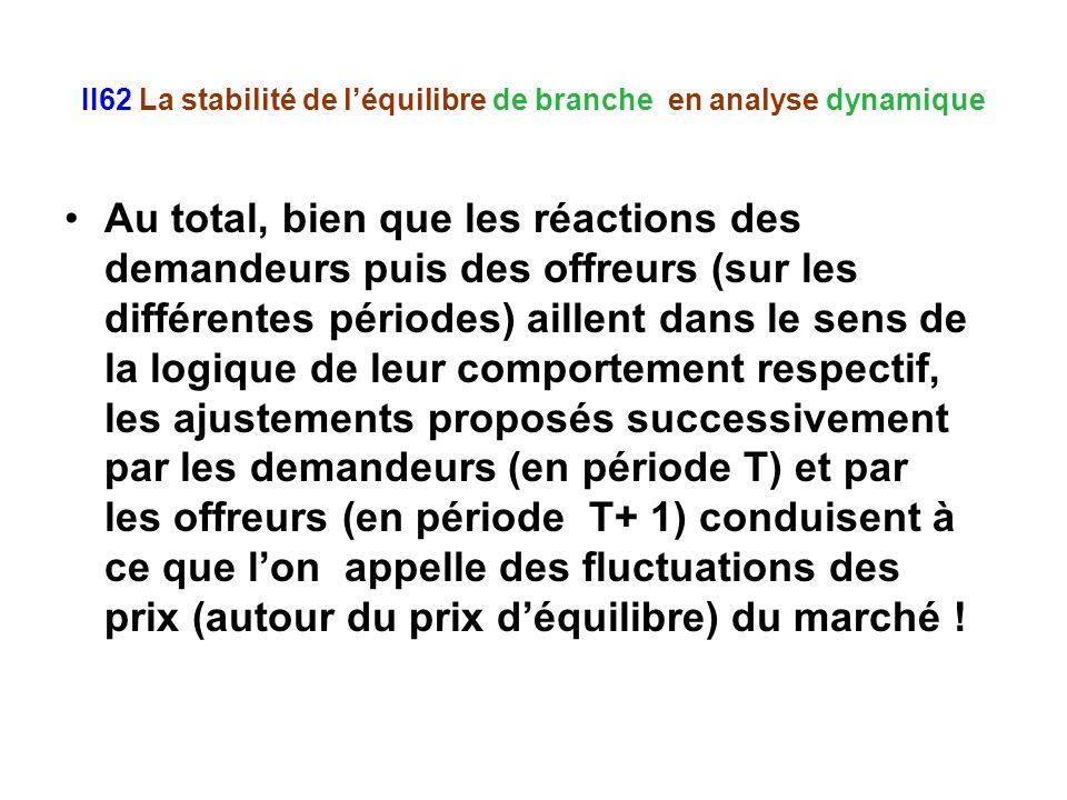 II62 La stabilité de léquilibre de branche en analyse dynamique Au total, bien que les réactions des demandeurs puis des offreurs (sur les différentes périodes) aillent dans le sens de la logique de leur comportement respectif, les ajustements proposés successivement par les demandeurs (en période T) et par les offreurs (en période T+ 1) conduisent à ce que lon appelle des fluctuations des prix (autour du prix déquilibre) du marché !