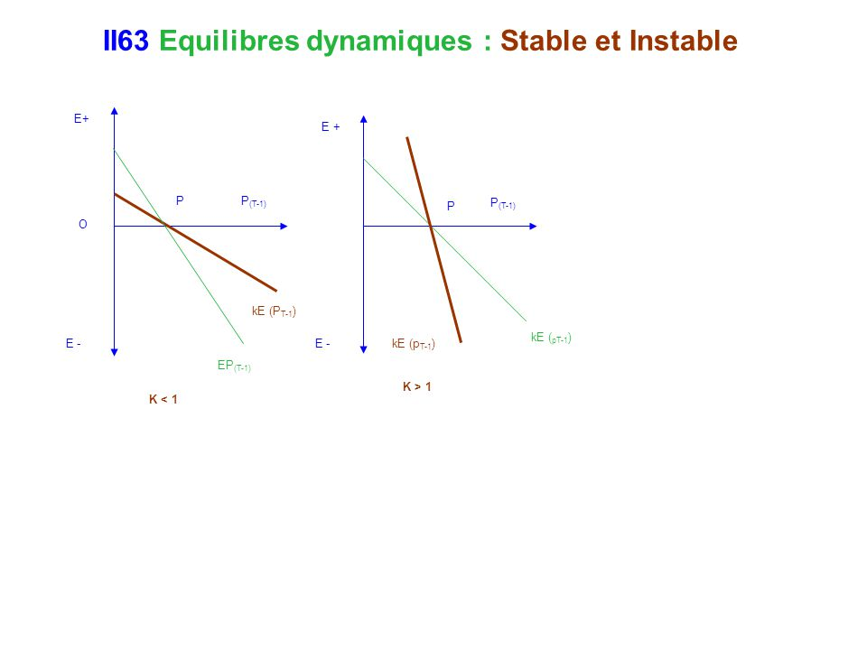 II63 Equilibres dynamiques : Stable et Instable E+ E - P O kE (P T-1 ) K < 1 P (T-1) EP (T-1) P kE (p T-1 ) K > 1 E - E + P (T-1) kE ( pT-1 )