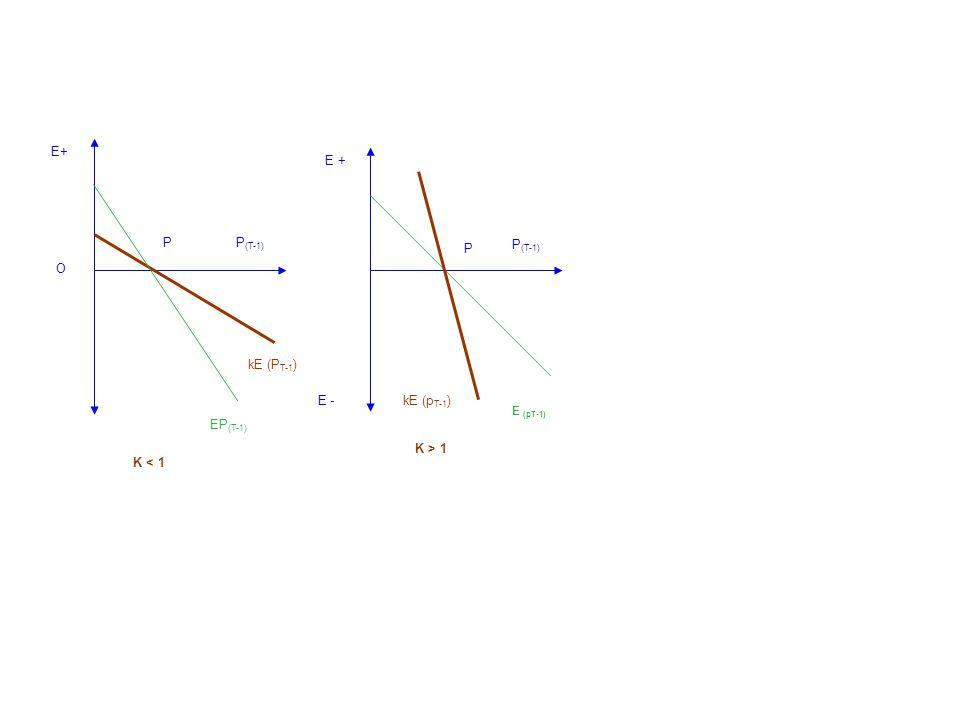 E+ P O kE (P T-1 ) K < 1 P (T-1) EP (T-1) P kE (p T-1 ) K > 1 E - E + P (T-1) E (pT-1)