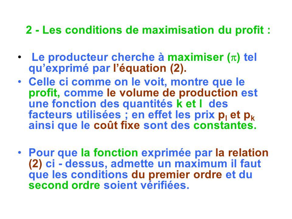 2 - Les conditions de maximisation du profit : Le producteur cherche à maximiser ( ) tel quexprimé par léquation (2). Celle ci comme on le voit, montr