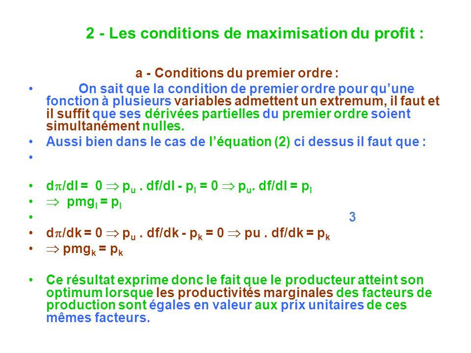 a - Conditions du premier ordre : On sait que la condition de premier ordre pour quune fonction à plusieurs variables admettent un extremum, il faut et il suffit que ses dérivées partielles du premier ordre soient simultanément nulles.