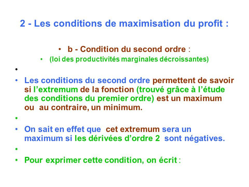 2 - Les conditions de maximisation du profit : b - Condition du second ordre : (loi des productivités marginales décroissantes) Les conditions du second ordre permettent de savoir si lextremum de la fonction (trouvé grâce à létude des conditions du premier ordre) est un maximum ou au contraire, un minimum.
