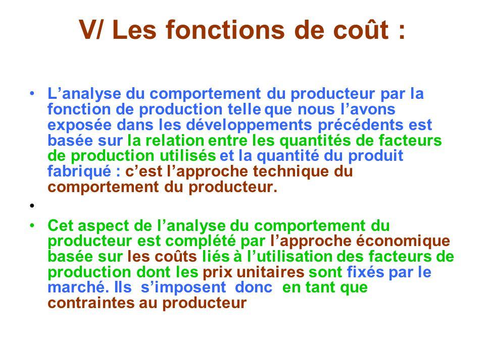 V/ Les fonctions de coût : Lanalyse du comportement du producteur par la fonction de production telle que nous lavons exposée dans les développements précédents est basée sur la relation entre les quantités de facteurs de production utilisés et la quantité du produit fabriqué : cest lapproche technique du comportement du producteur.