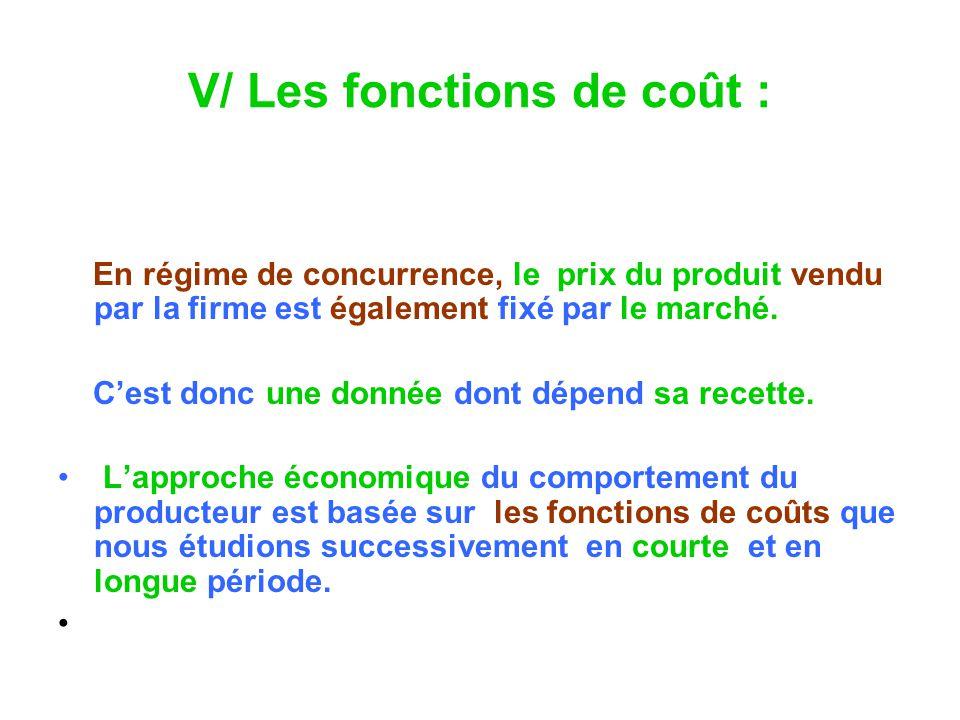 V/ Les fonctions de coût : En régime de concurrence, le prix du produit vendu par la firme est également fixé par le marché.