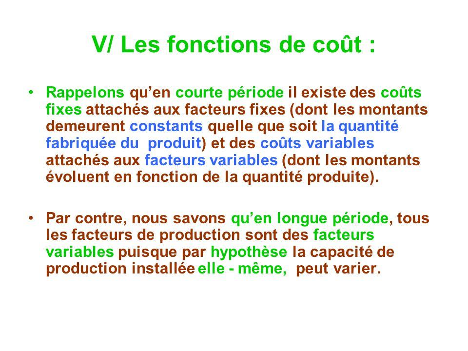 V/ Les fonctions de coût : Rappelons quen courte période il existe des coûts fixes attachés aux facteurs fixes (dont les montants demeurent constants
