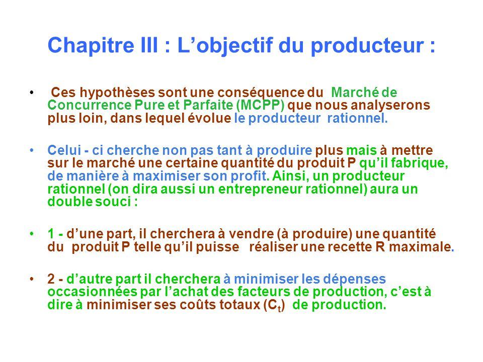 Chapitre III : Lobjectif du producteur : Ces hypothèses sont une conséquence du Marché de Concurrence Pure et Parfaite (MCPP) que nous analyserons plus loin, dans lequel évolue le producteur rationnel.