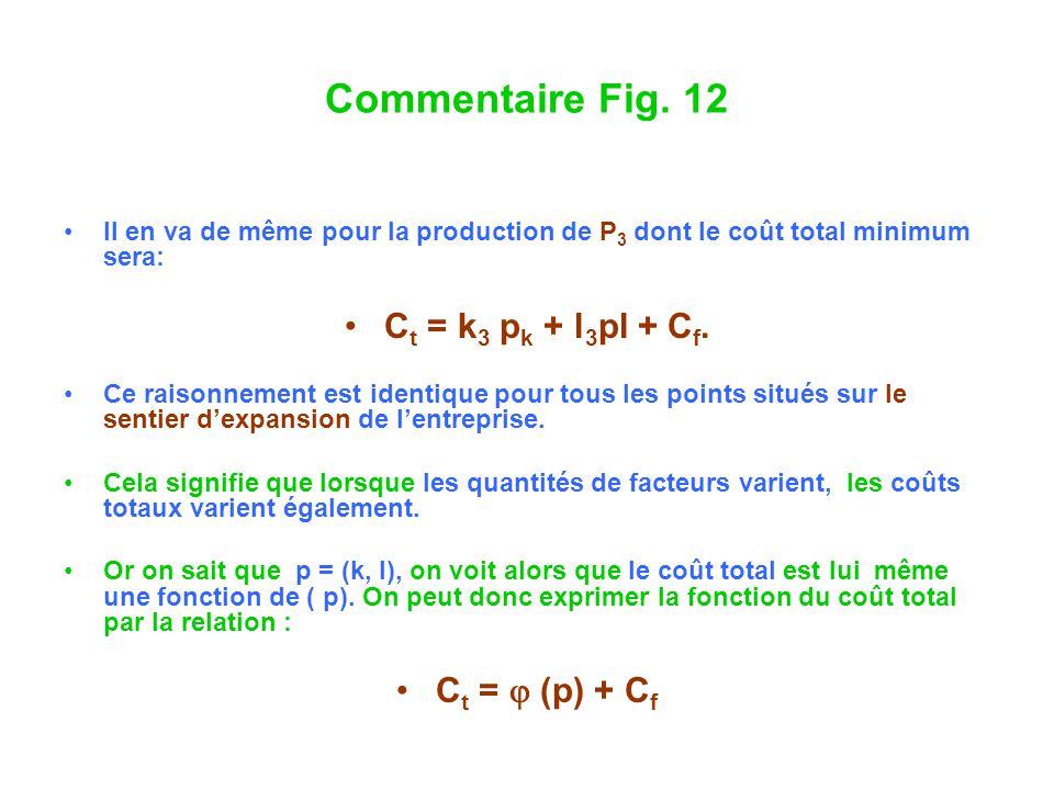 Commentaire Fig. 12 Il en va de même pour la production de P 3 dont le coût total minimum sera: C t = k 3 p k + l 3 pl + C f. Ce raisonnement est iden