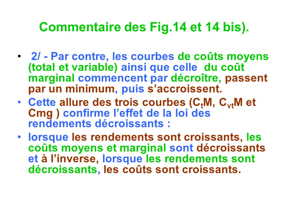 Commentaire des Fig.14 et 14 bis). 2/ - Par contre, les courbes de coûts moyens (total et variable) ainsi que celle du coût marginal commencent par dé