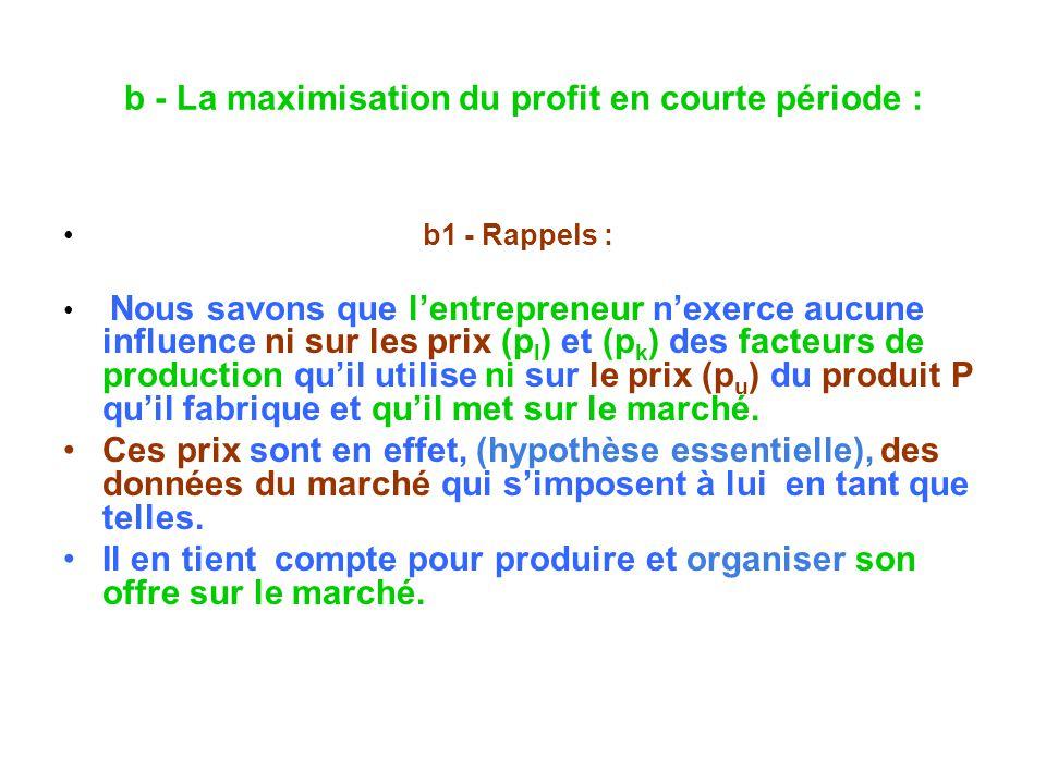 b - La maximisation du profit en courte période : b1 - Rappels : Nous savons que lentrepreneur nexerce aucune influence ni sur les prix (p l ) et (p k ) des facteurs de production quil utilise ni sur le prix (p u ) du produit P quil fabrique et quil met sur le marché.