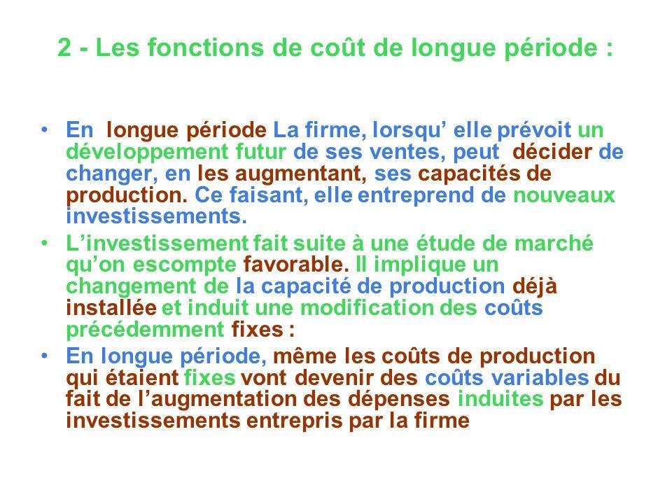 2 - Les fonctions de coût de longue période : En longue période La firme, lorsqu elle prévoit un développement futur de ses ventes, peut décider de ch