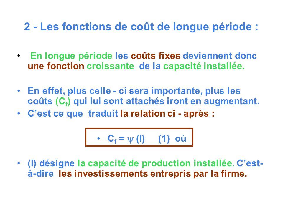 2 - Les fonctions de coût de longue période : En longue période les coûts fixes deviennent donc une fonction croissante de la capacité installée. En e