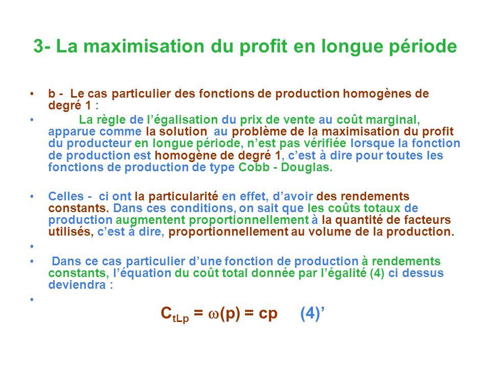 3- La maximisation du profit en longue période b - Le cas particulier des fonctions de production homogènes de degré 1 : La règle de légalisation du p