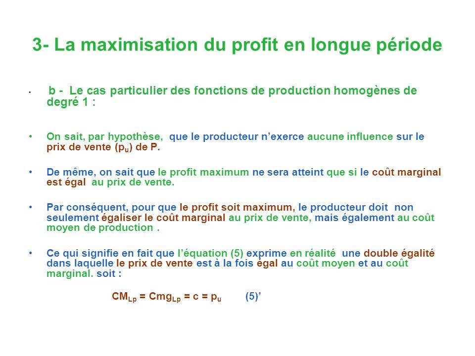 3- La maximisation du profit en longue période b - Le cas particulier des fonctions de production homogènes de degré 1 : On sait, par hypothèse, que le producteur nexerce aucune influence sur le prix de vente (p u ) de P.
