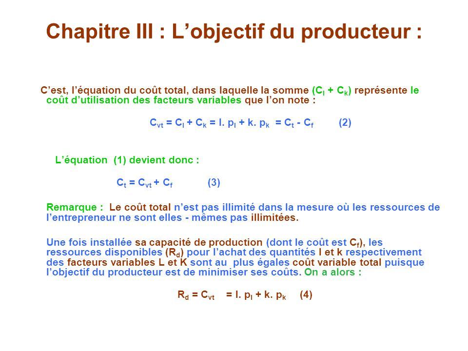 Chapitre III : Lobjectif du producteur : Cest, léquation du coût total, dans laquelle la somme (C l + C k ) représente le coût dutilisation des facteurs variables que lon note : C vt = C l + C k = l.