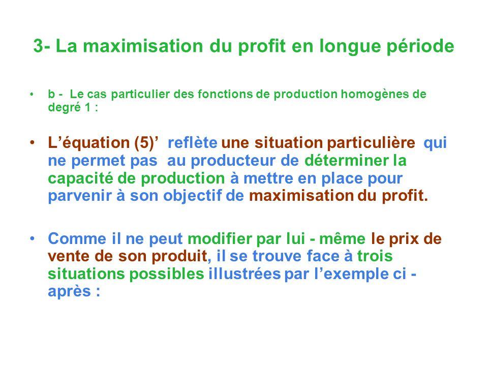 3- La maximisation du profit en longue période b - Le cas particulier des fonctions de production homogènes de degré 1 : Léquation (5) reflète une situation particulière qui ne permet pas au producteur de déterminer la capacité de production à mettre en place pour parvenir à son objectif de maximisation du profit.