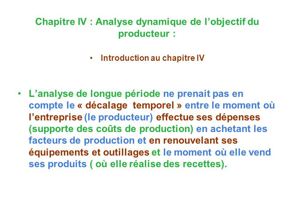 Chapitre IV : Analyse dynamique de lobjectif du producteur : Introduction au chapitre IV Lanalyse de longue période ne prenait pas en compte le « déca