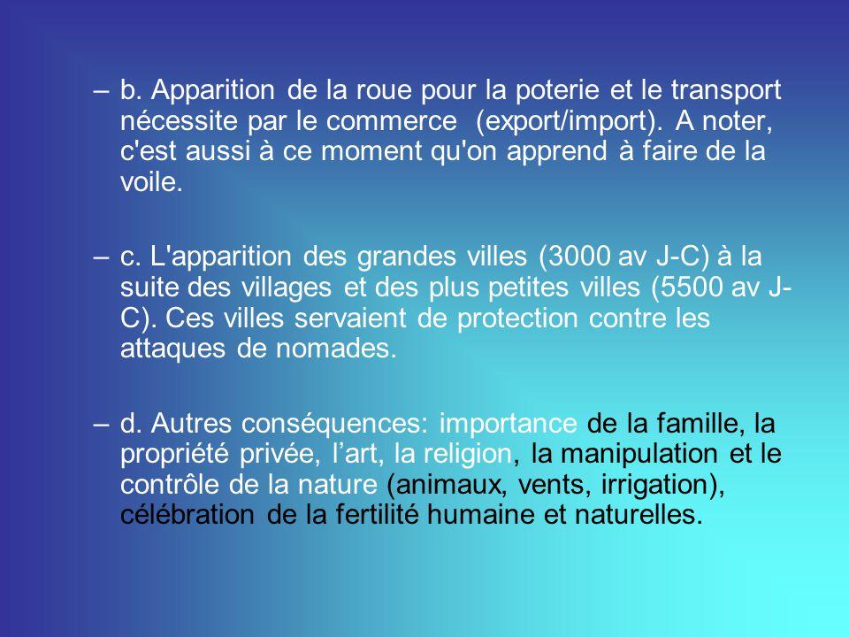 –b. Apparition de la roue pour la poterie et le transport nécessite par le commerce(export/import). A noter, c'est aussi à ce moment qu'on apprend à f