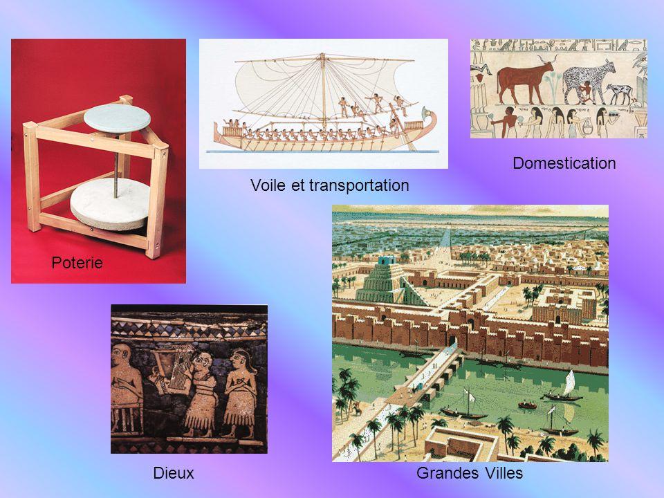 Poterie DieuxGrandes Villes Voile et transportation Domestication