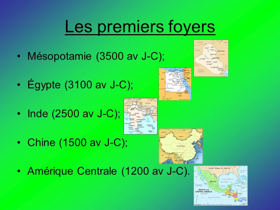 Les premiers foyers Mésopotamie (3500 av J-C); Égypte (3100 av J-C); Inde (2500 av J-C); Chine (1500 av J-C); Amérique Centrale (1200 av J-C).