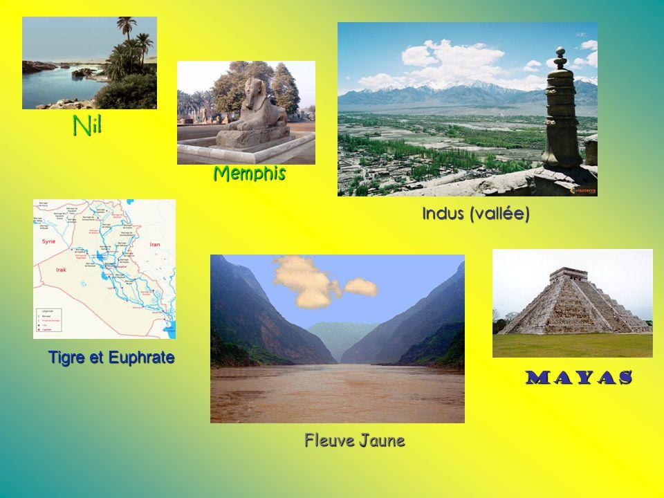 Nil Memphis Indus (vallée) Fleuve Jaune Tigre et Euphrate Mayas