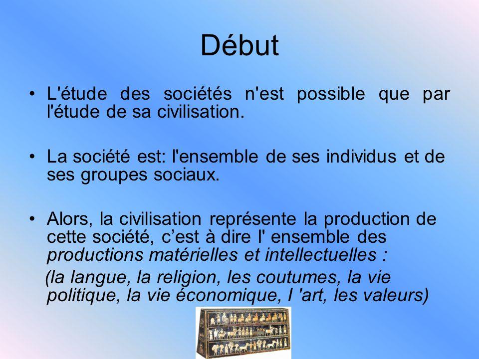 Début L'étude des sociétés n'est possible que par l'étude de sa civilisation. La société est: l'ensemble de ses individus et de ses groupes sociaux. A