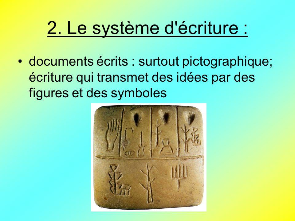 2. Le système d'écriture : documents écrits : surtout pictographique; écriture qui transmet des idées par des figures et des symboles