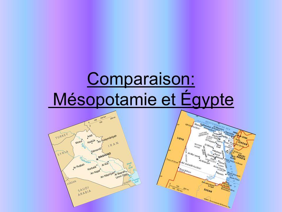 Comparaison: Mésopotamie et Égypte